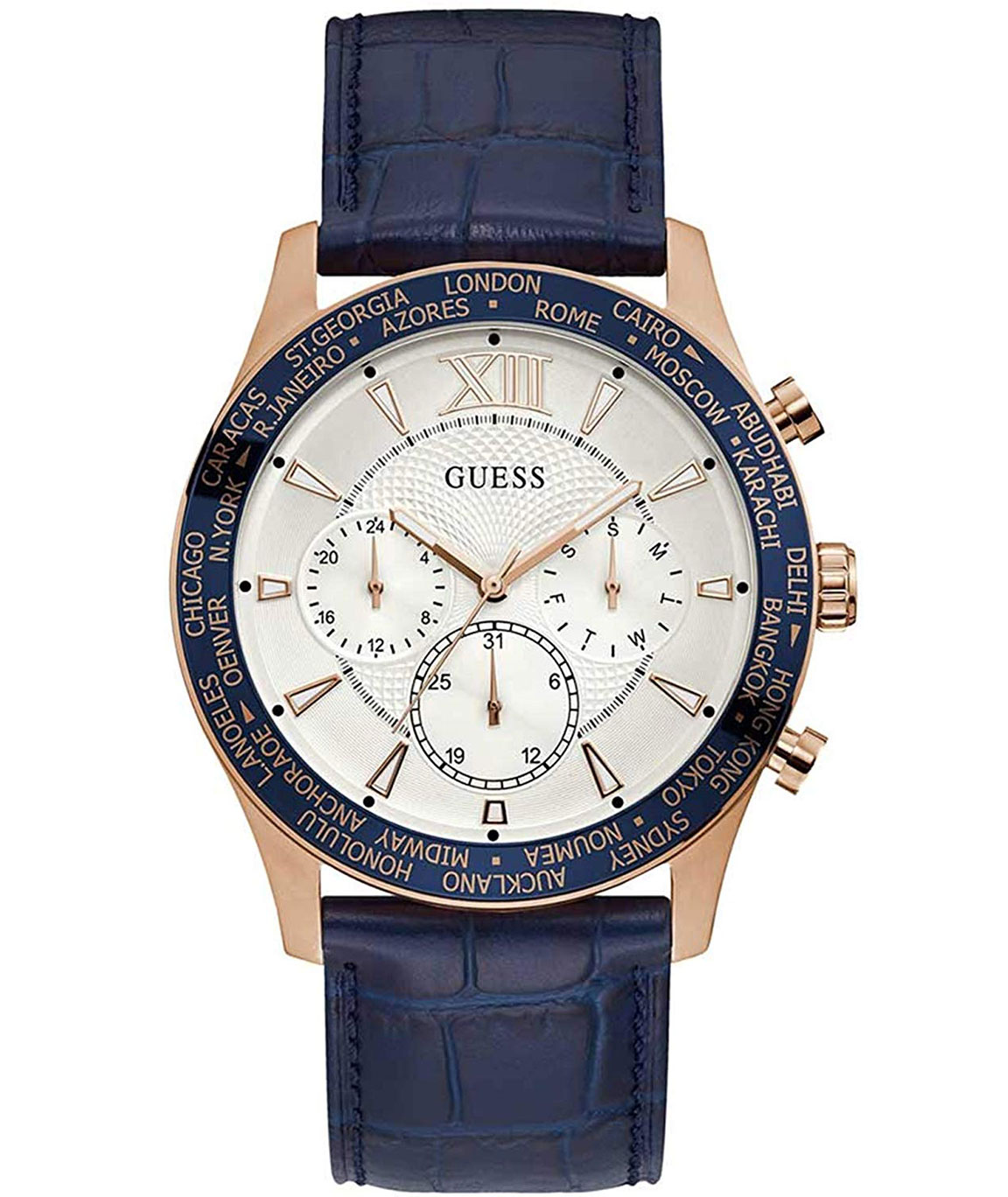 GUESS White Dial Blue Men`s Watch