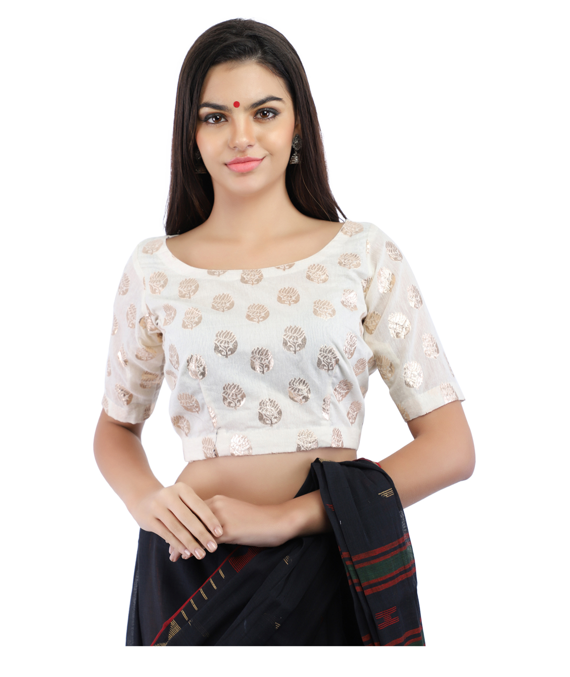 Handloom Banarasi Chanderi Brocade Non-Padded Blouse in White With Hook Closure on Back (COLOUR : WHITE)
