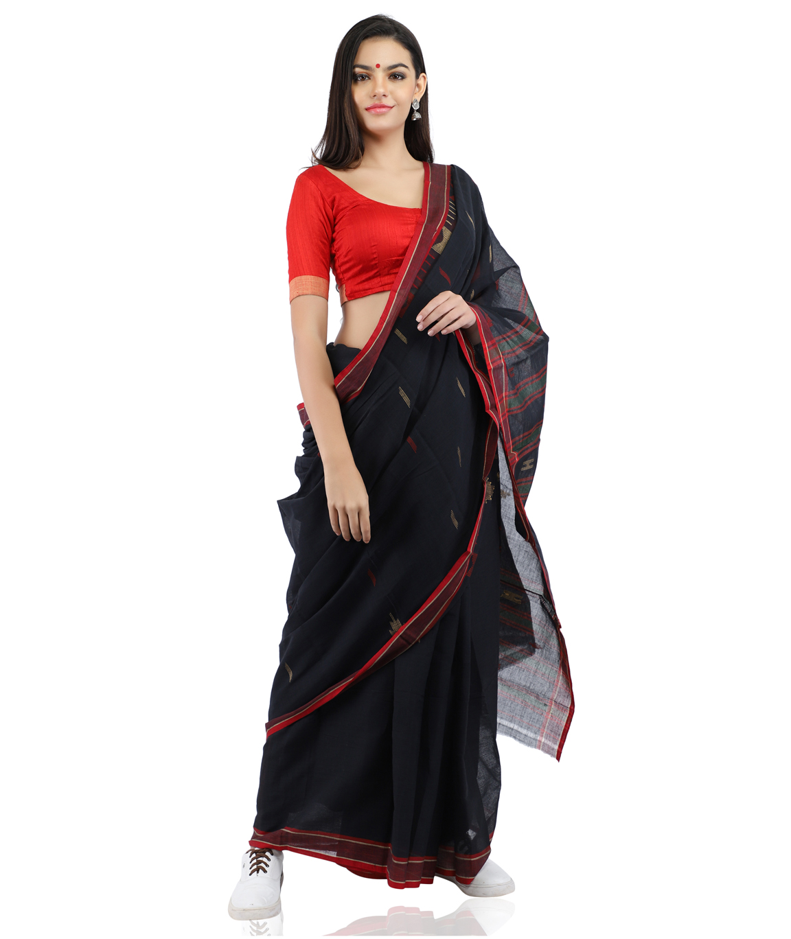 Handloom Pure Cotton Black Saree With Jamdani Woven(COLOUR : BLACK & RED)