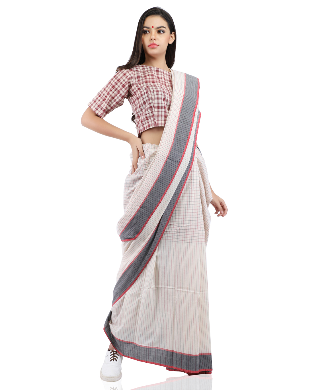 Handloom Pure Cotton Check Saree in White and Red With Blouse Piece