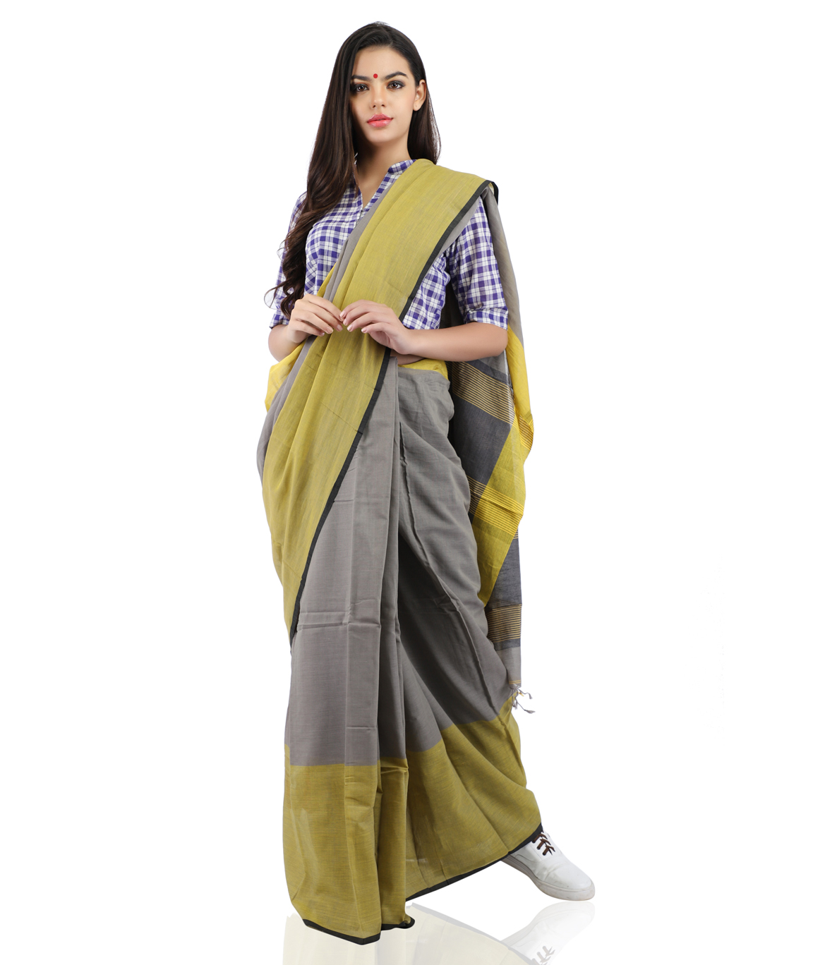 Handloom Pure Cotton Saree in Grey and Yellow With Blouse Piece