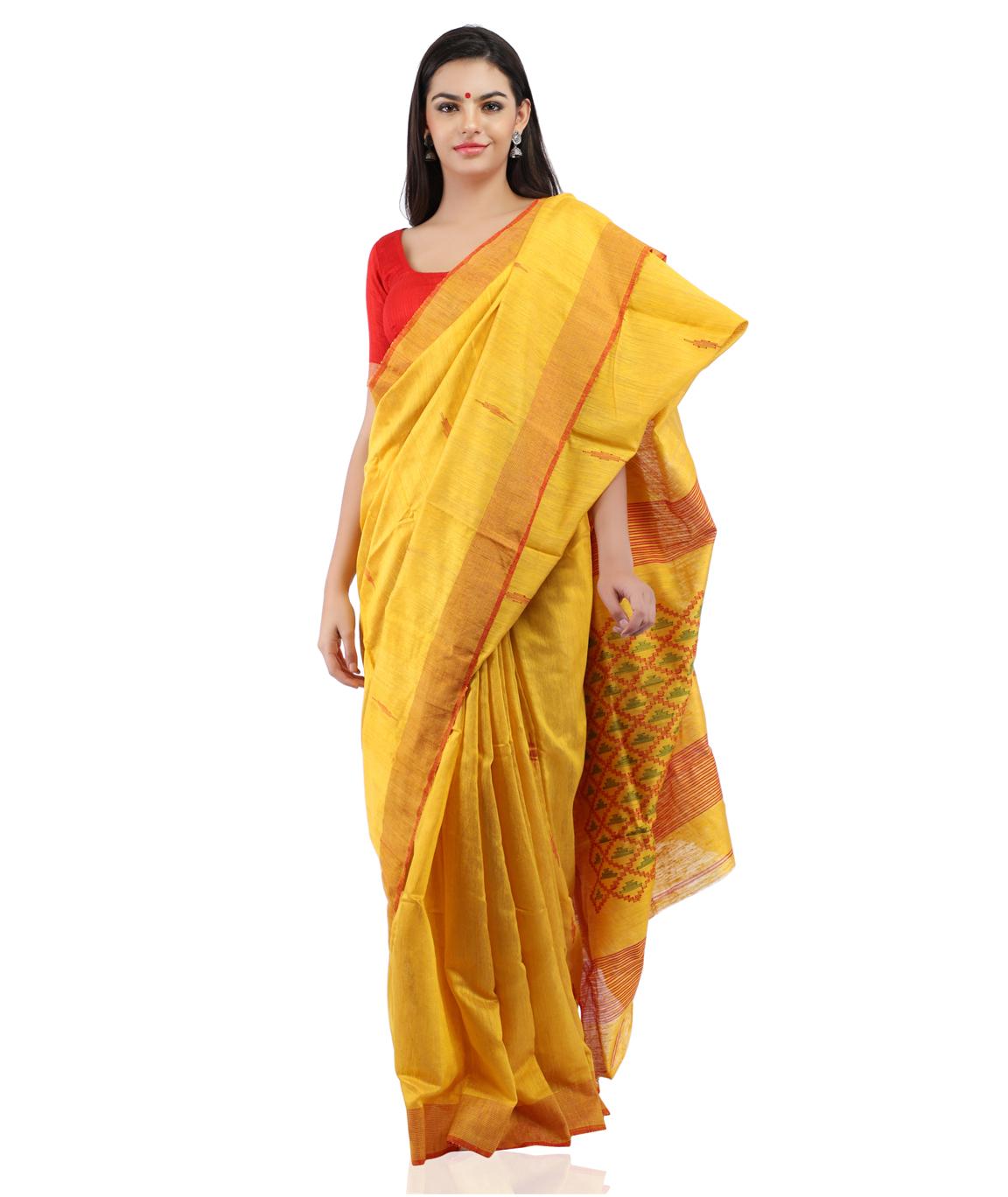 Handloom Pure Matka Silk Jamdani Saree in Mustard Yellow With Blouse Piece