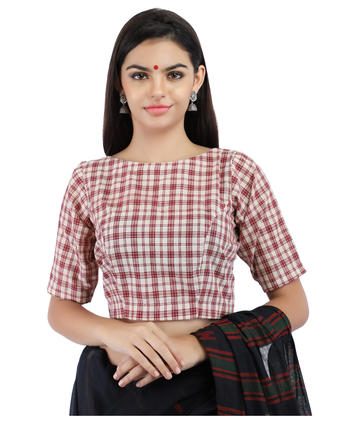 Handloom Red and White Pure Cotton Checks Boat Neck Blouse With Back Keyhole (COLOUR : RED & WHITE CHECKS)