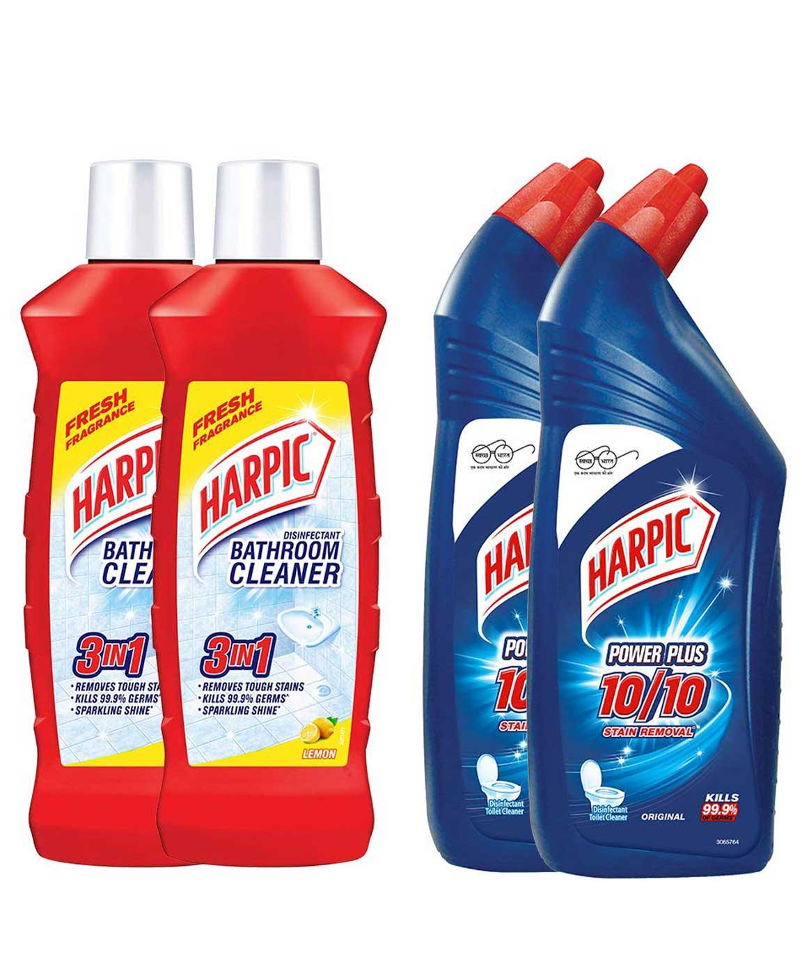Harpic Bathroom Cleaner Lemon, 1 L (Pack of 2) and Harpic Original Powerplus - 1 L (Pack of 2)
