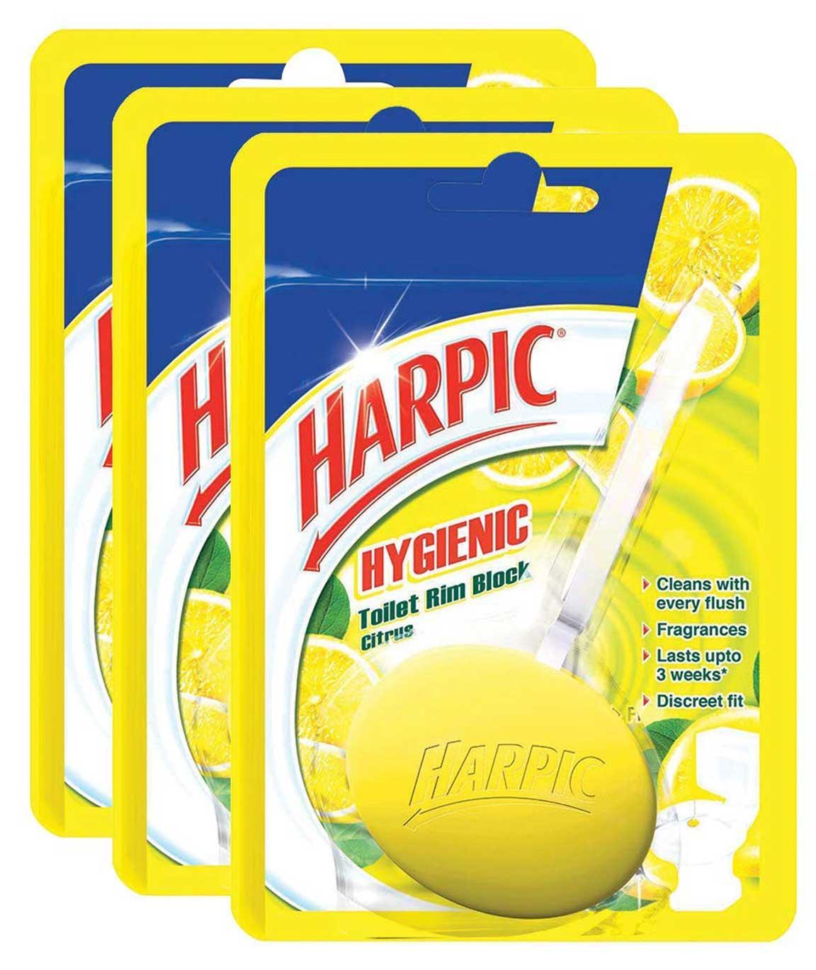 Harpic Hygiene Toilet Rim Block, Citrus - 26 g (Pack of 3)