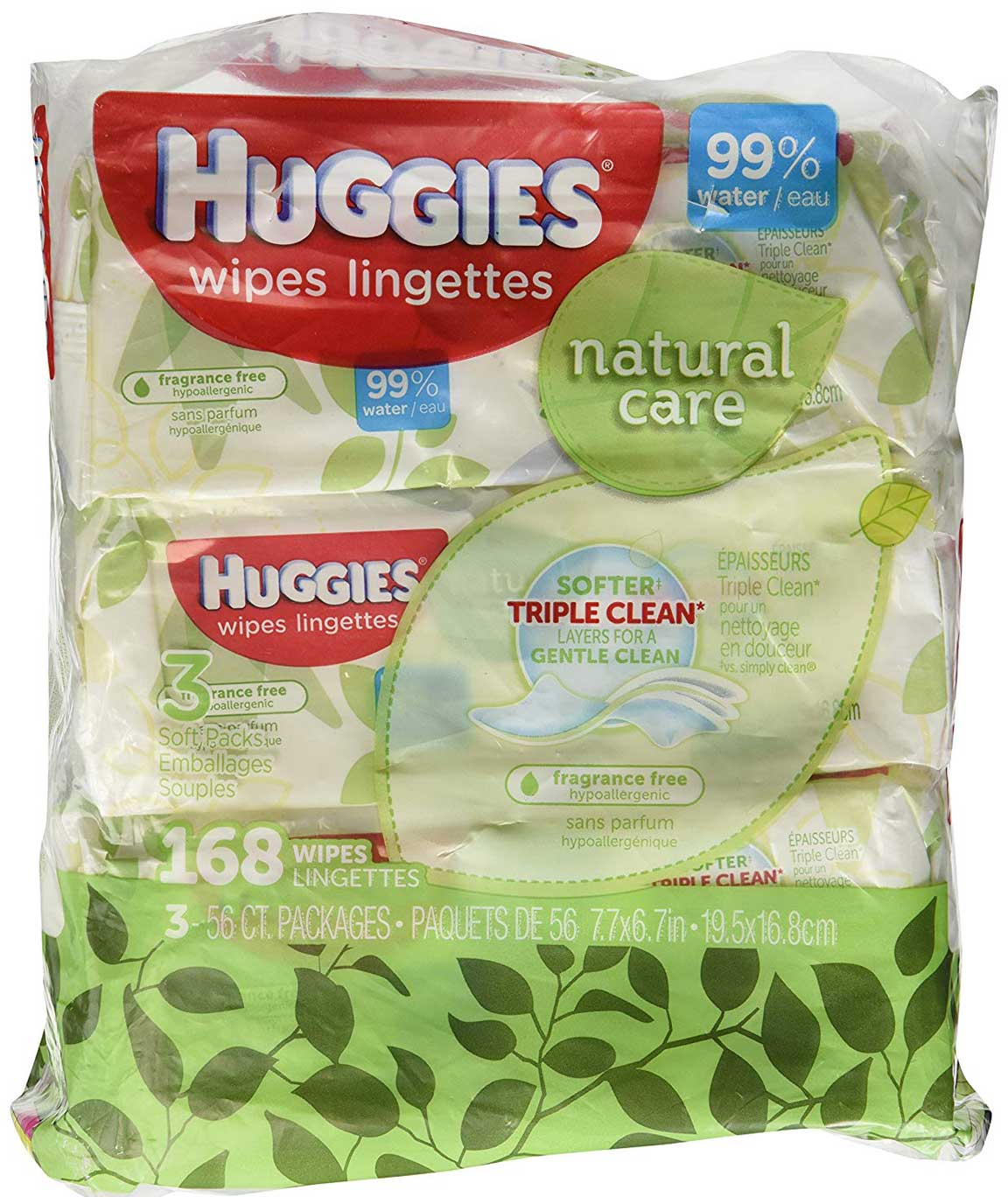 Huggies Natural Care Fragrance Free Soft Pack Wipes - 3 PK