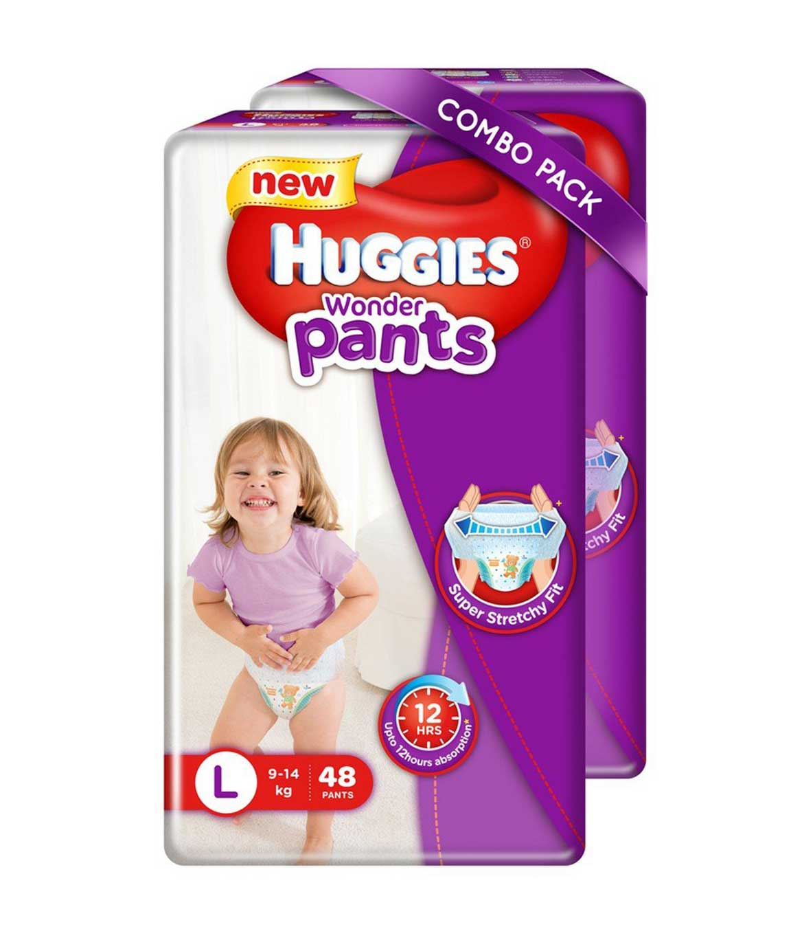 Huggies Wonder Pants Large Size Diapers (Pack of 2, 48 Counts)