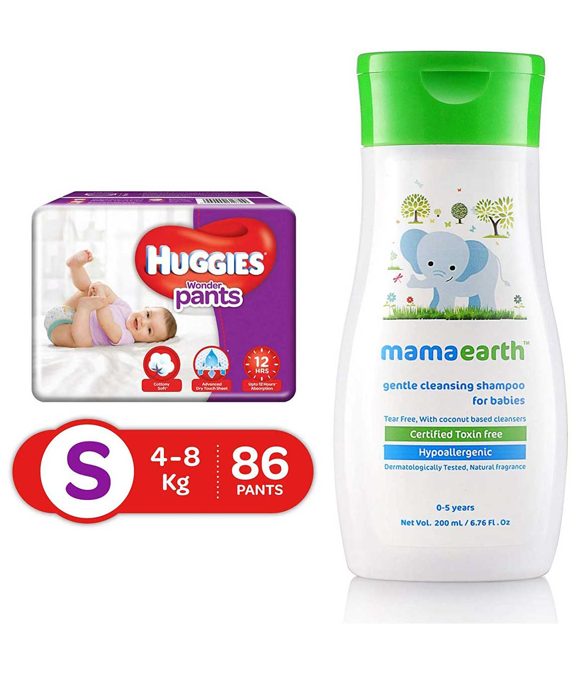 Huggies Wonder Pants Small Size Diapers, 86 Count & Mamaearth Gentle Cleansing Shampoo for babies (200 ml, 0-5 Yrs)
