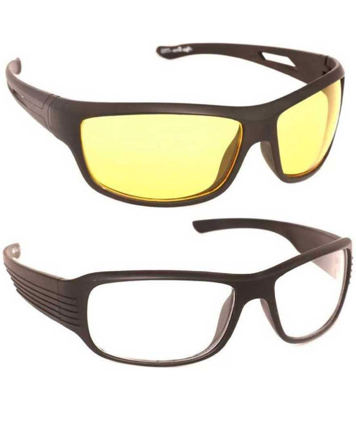 I KING NIGHT VISION WRAP-AROUND SUNGLASSES (FREE SIZE) (YELLOW, CLEAR)