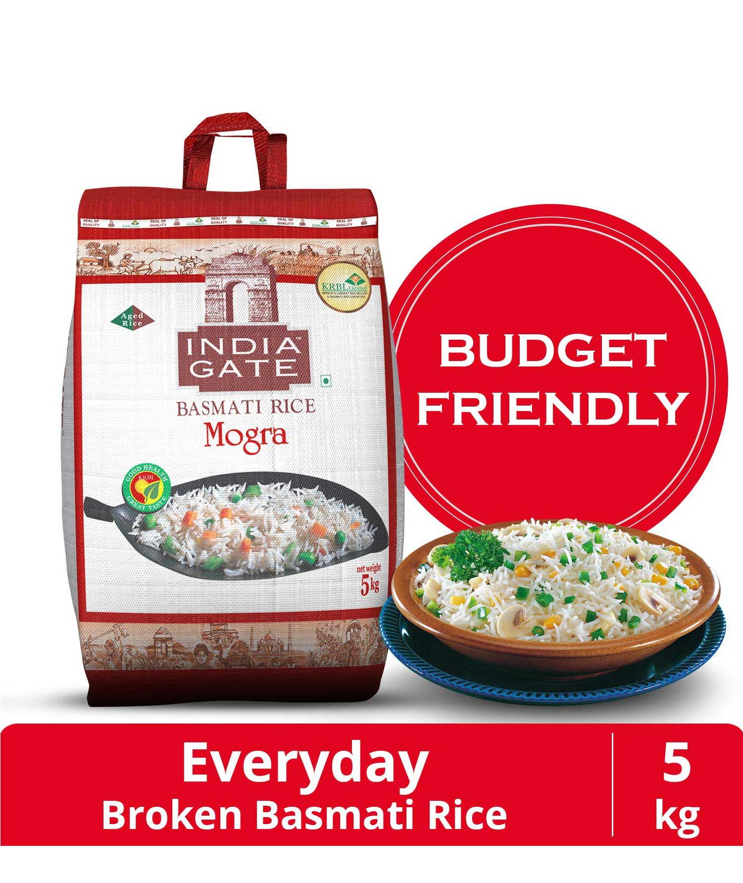 India Gate Basmati Rice Bag, Mogra, 5kg (Broken rice)