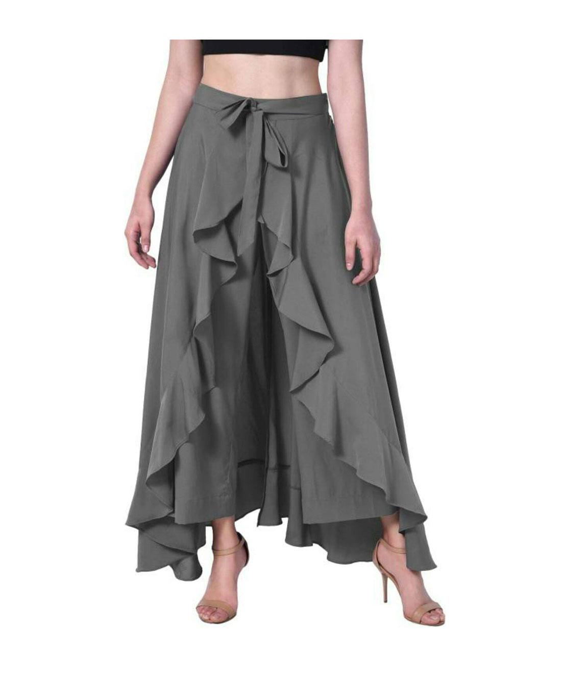 Women`s Layered/Ruffle Black Palazzo with One Waist Tie Band(grey)