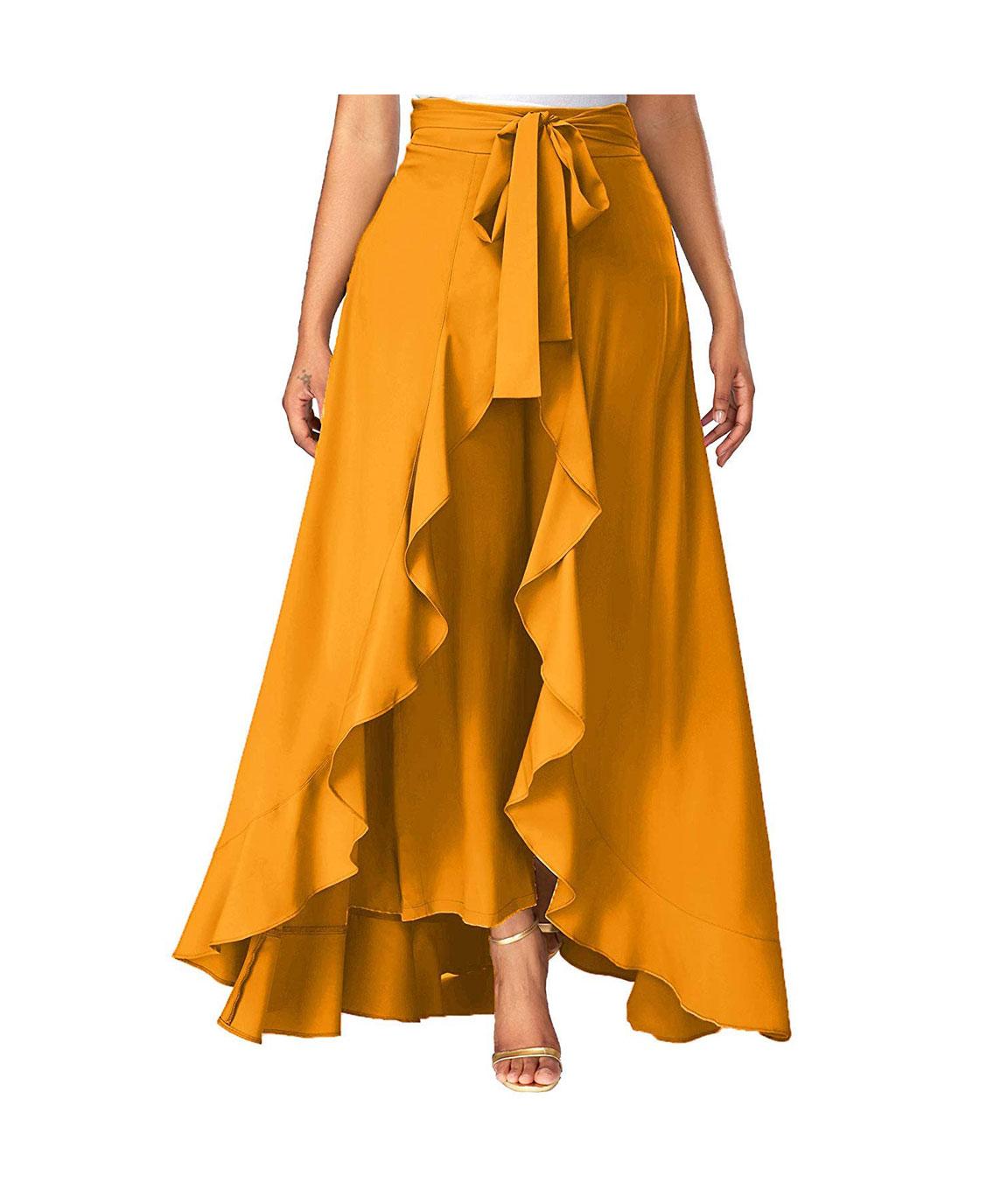 Women`s Layered/Ruffle Black Palazzo with One Waist Tie Band(yellow)