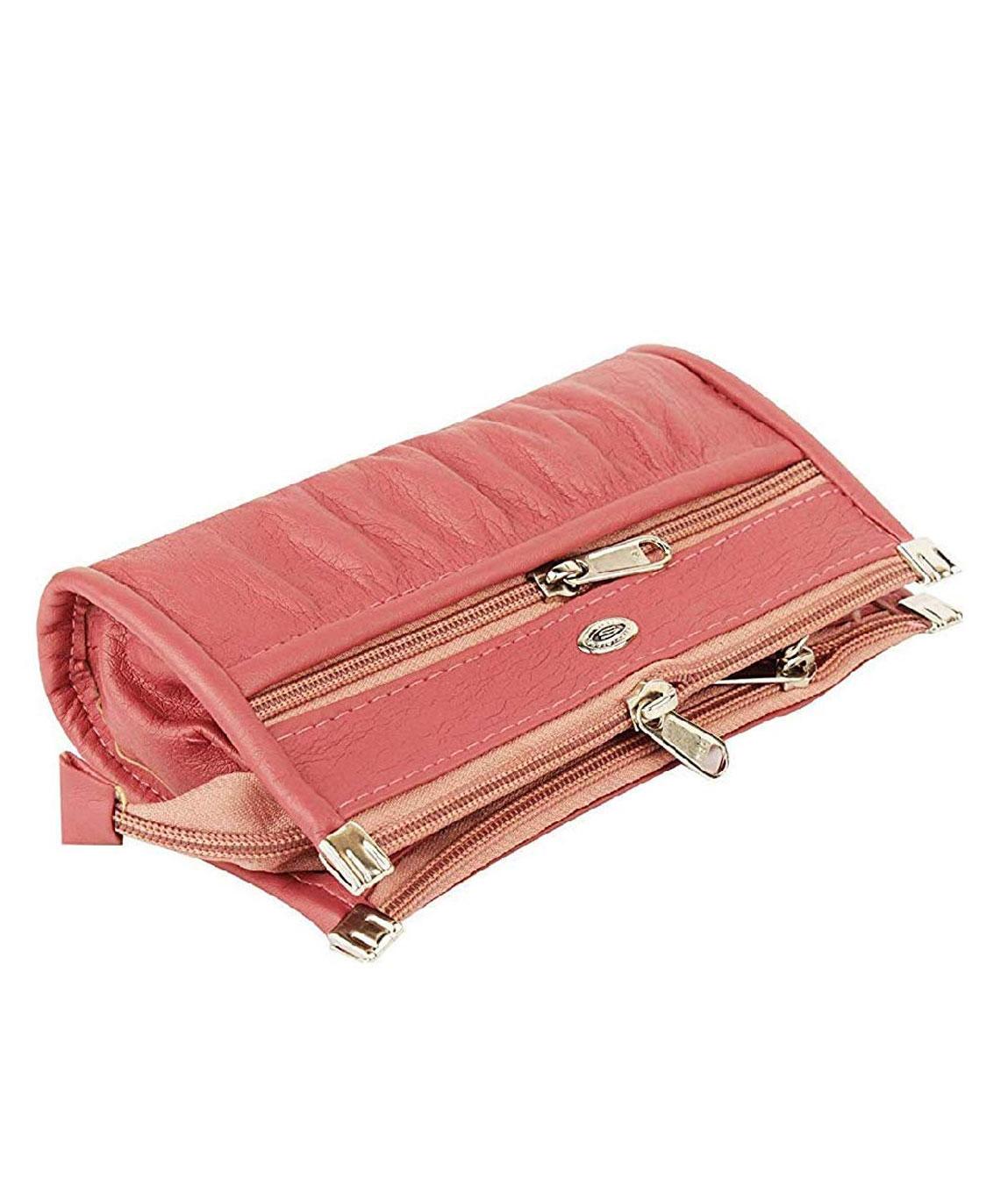 Kavi`s Quality PU Leather Women`s and Girls Wallet Clutch Purse Handbag (Pink)