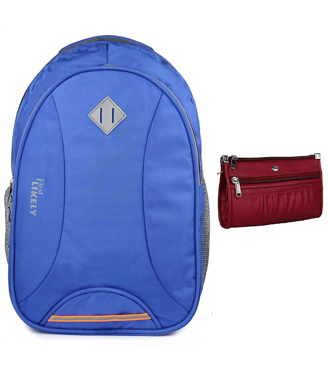 Kavi`s Women`s and Men`s Nylon Polyester 18 Inch Laptop Bag Backpacks School Bag (Royal Blue)