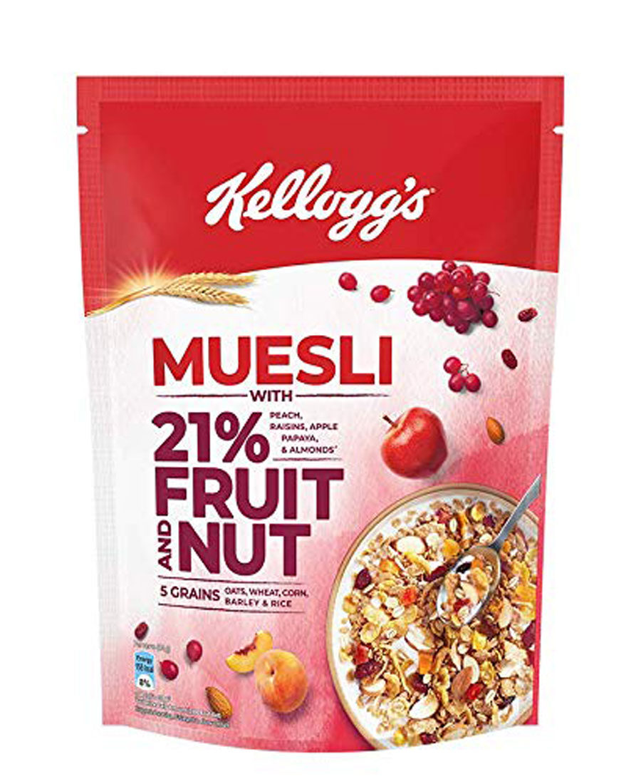 Kelloggs Muesli - With 21% Fruit & Nut, 500 gm Pouch