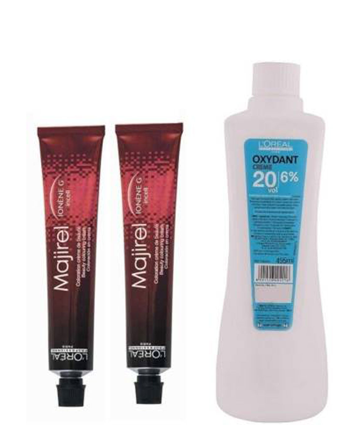 L`Oreal Majirel No. 3 Dark Brown With Oxydant Creme 20 Vol 6% Developer (Set Of 3) With Mixing Bowl & Brush