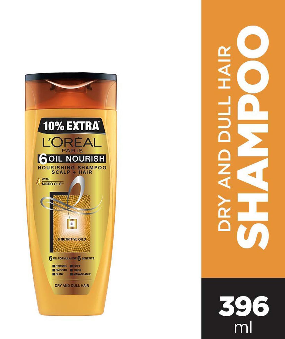 L`Oreal Paris 6 Oil Nourish Shampoo, 360ml (With 10% Extra)