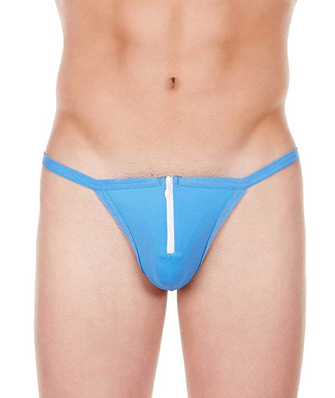 La Intimo Men`s Blue Nylon Spandex Zipper String