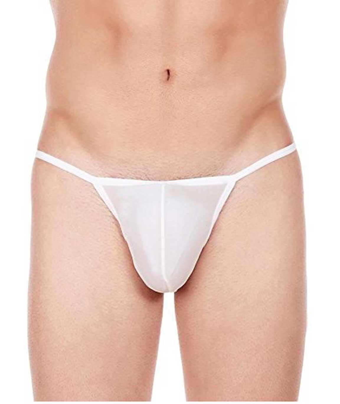 La Intimo Men`s White Nylon Spandex Galaxy Bikini