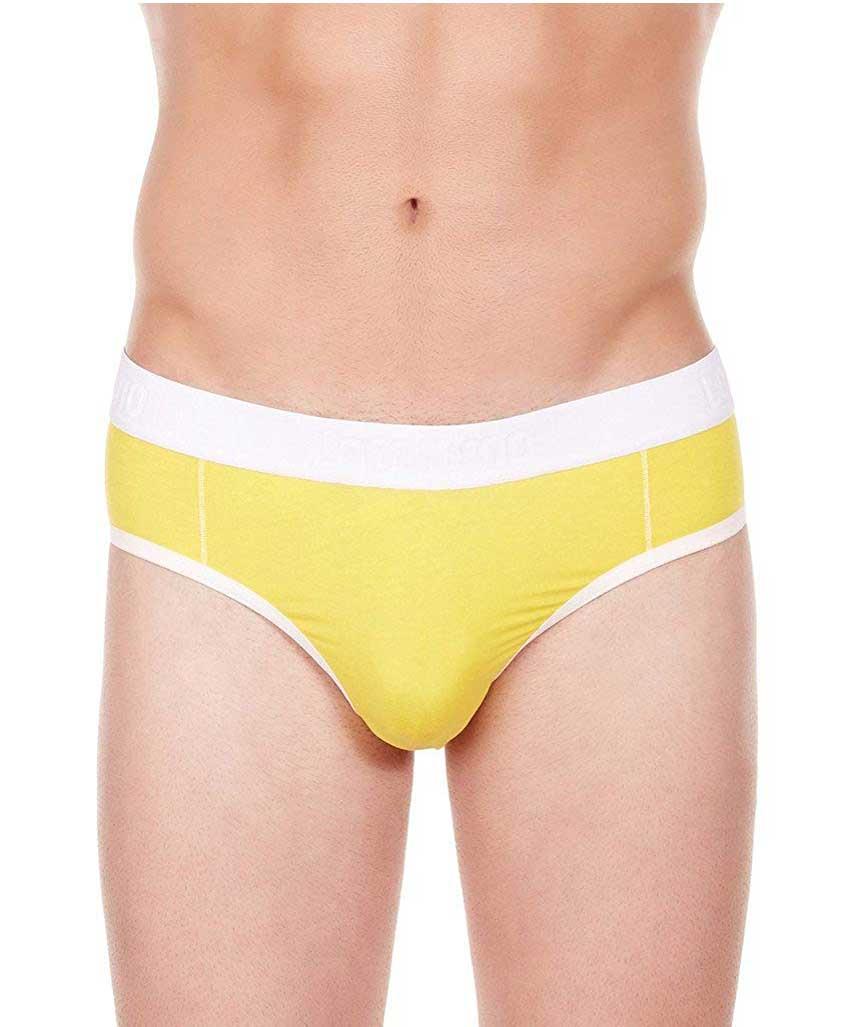 La Intimo Men`s Yellow Cotton Modal Spandex Window Jock