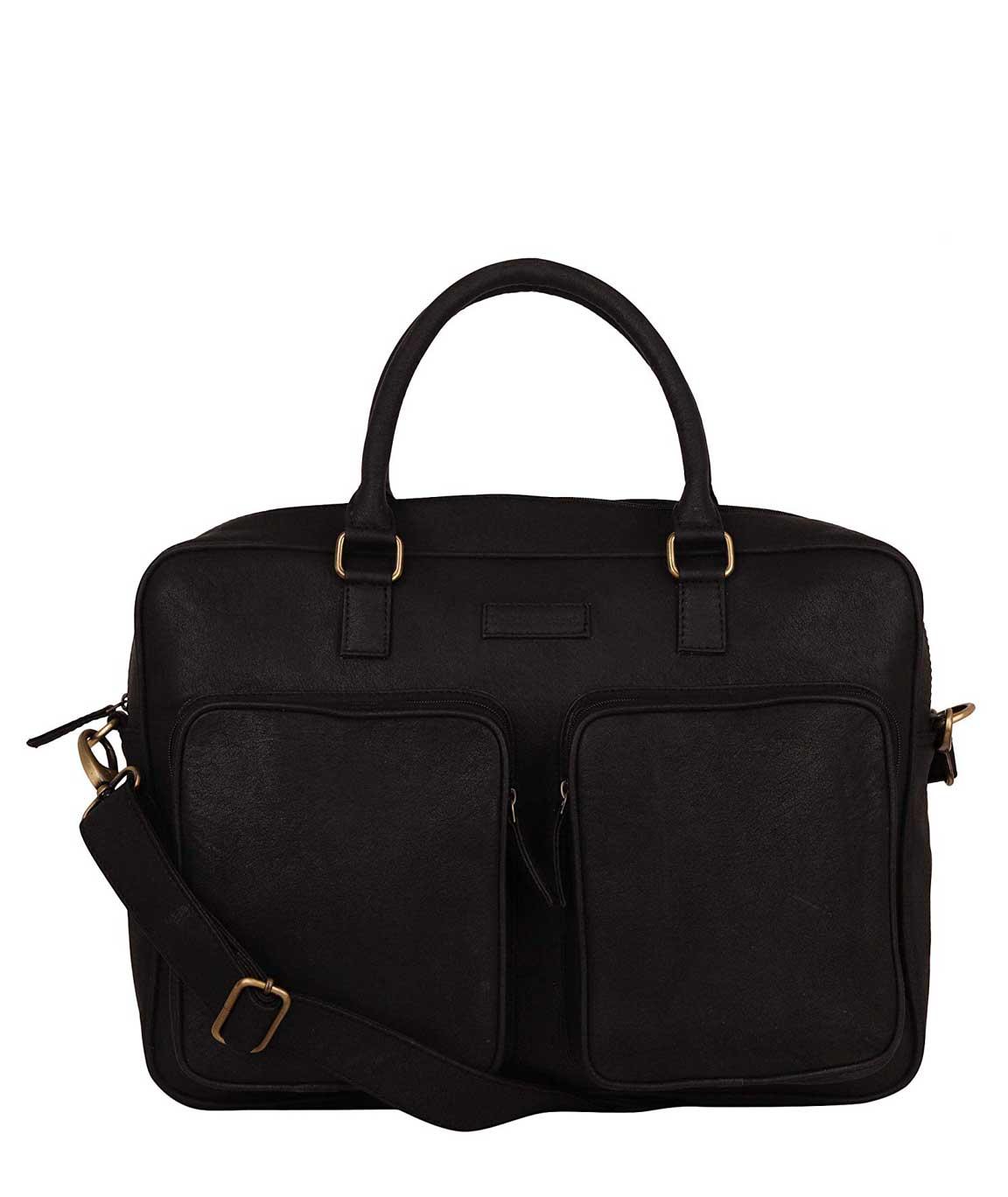 Lapis O Lupo Dual Pocket Men Laptop Bag (Black)