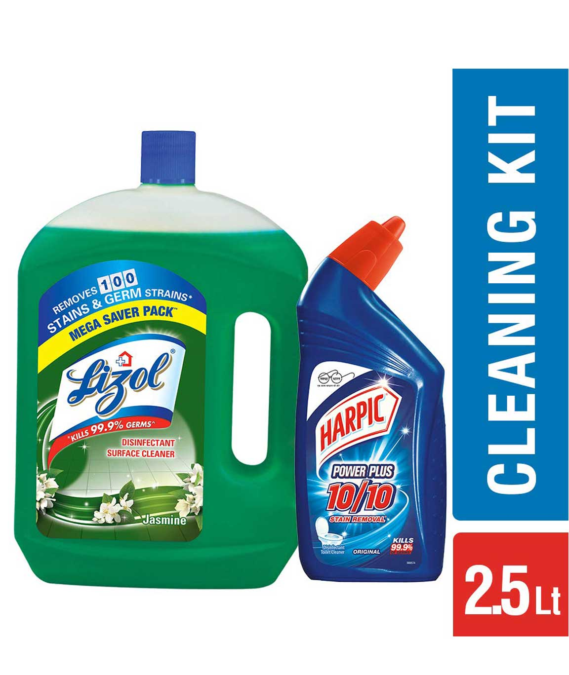 Lizol Disinfectant Floor Cleaner Jasmine- 2 litre with Free Harpic Power Plus Toilet Cleaner 500 ml (Any Variant)