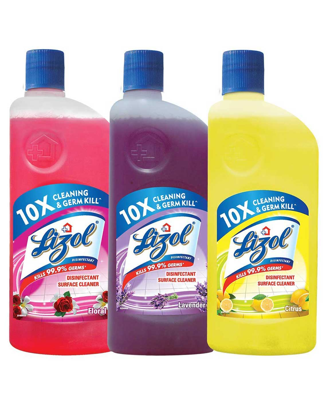 Lizol Disinfectant Surface & Floor Cleaner Combo [Citrus - 500 ml + Floral - 500 ml and Lavender - 500 ml]