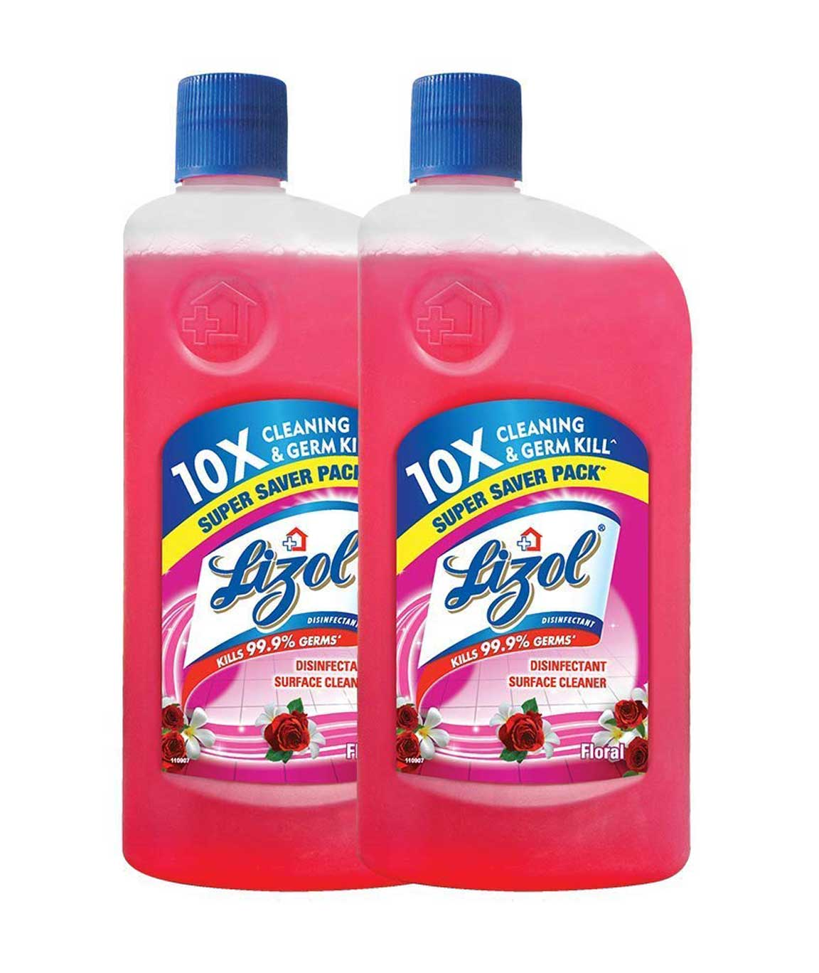 Lizol Disinfectant Surface & Floor Cleaner Floral - 975 ml (Pack of 2)