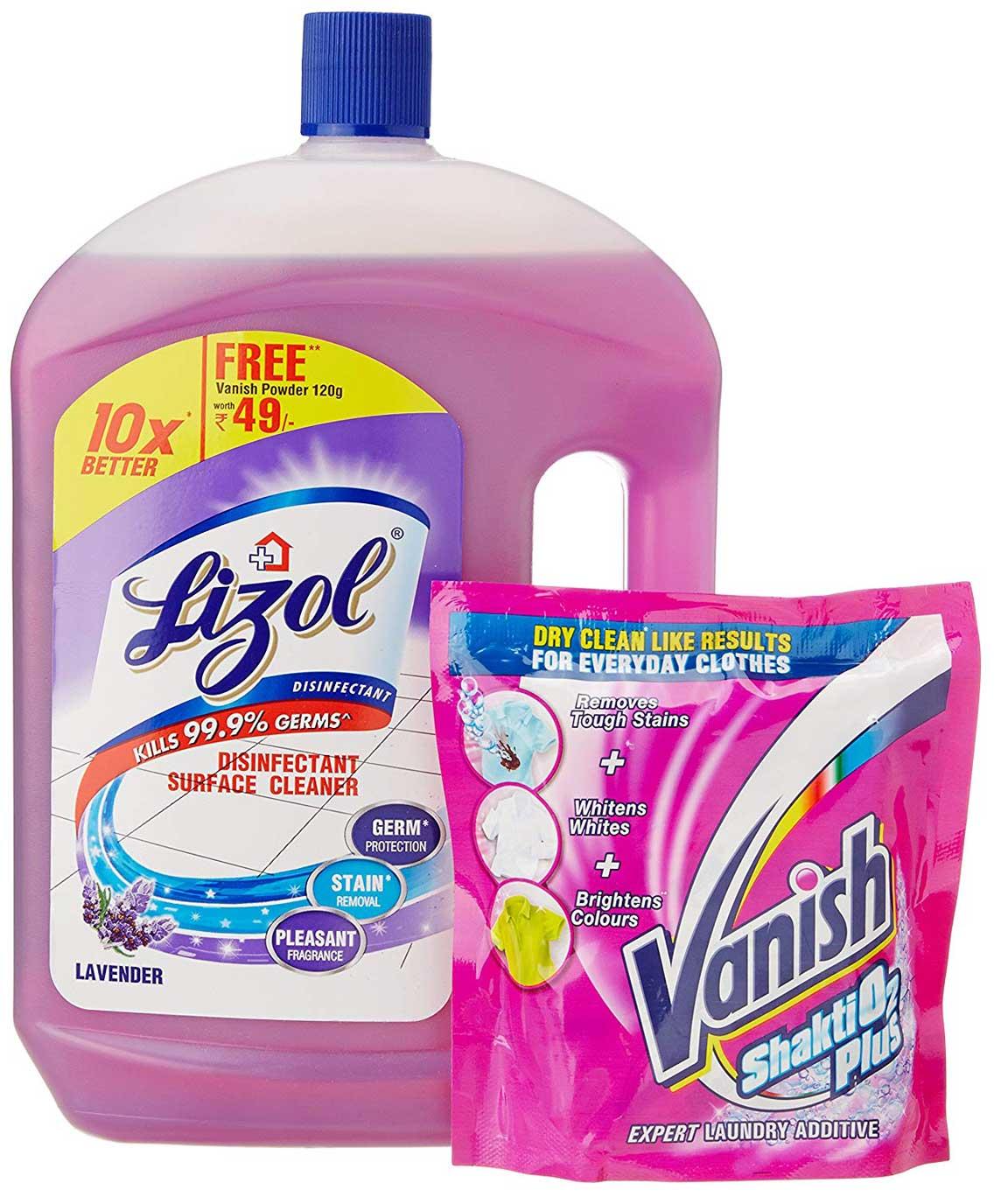 Lizol Floor Cleaner Lavender- 2 L with Free Vanish Powder - 120 g