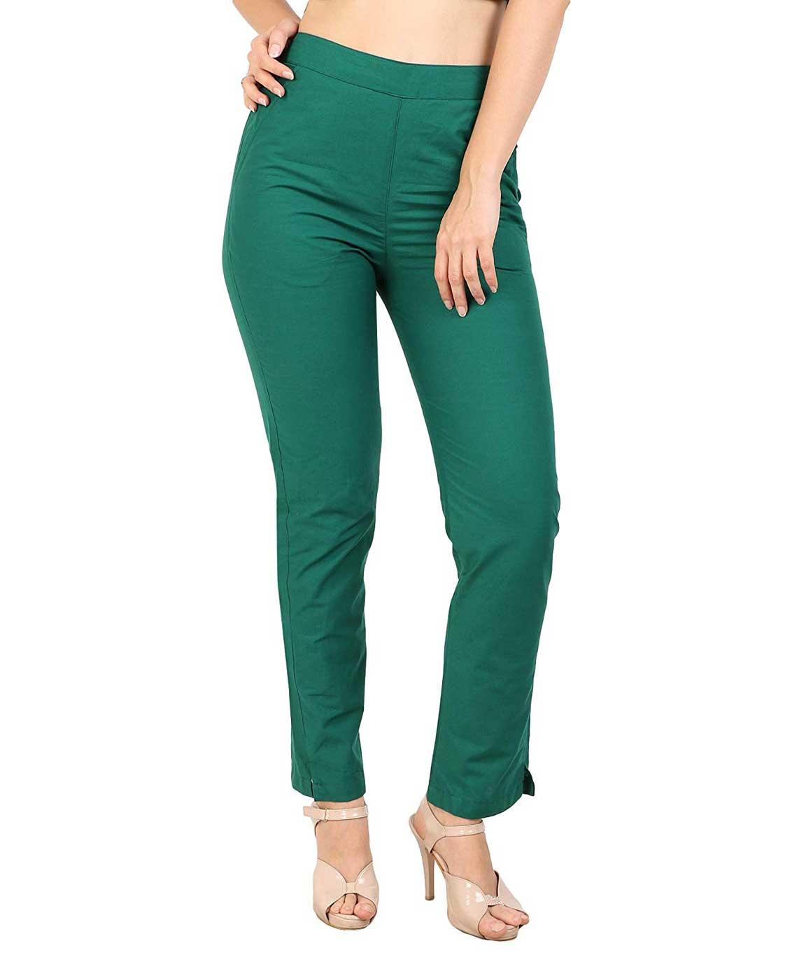 Makxziya Women`s Green Regular Fit Cotton Trouser(Green)