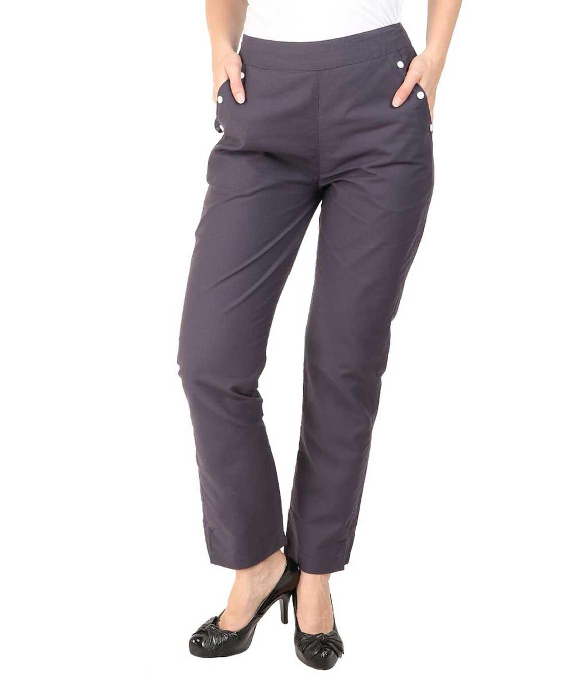 Makxziya Women`s Grey Regular Fit Cotton Trouser(Grey)