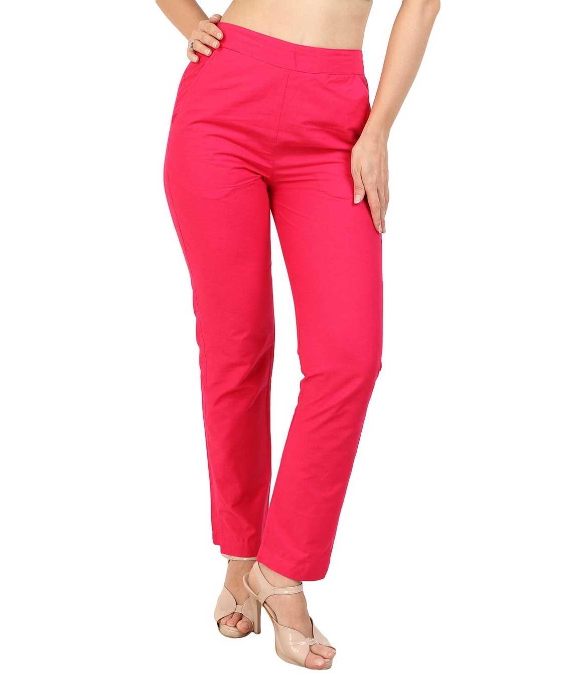 Makxziya Women`s Magenta Regular Fit Cotton Trouser(Magenta)