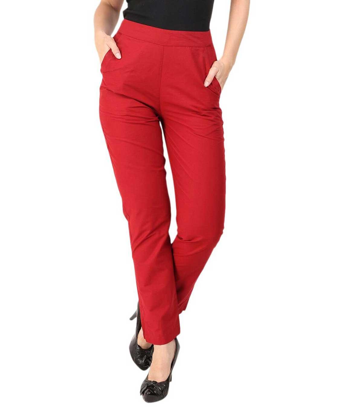 Makxziya Women`s Maroon Regular Fit Cotton Trouser(MAroon)