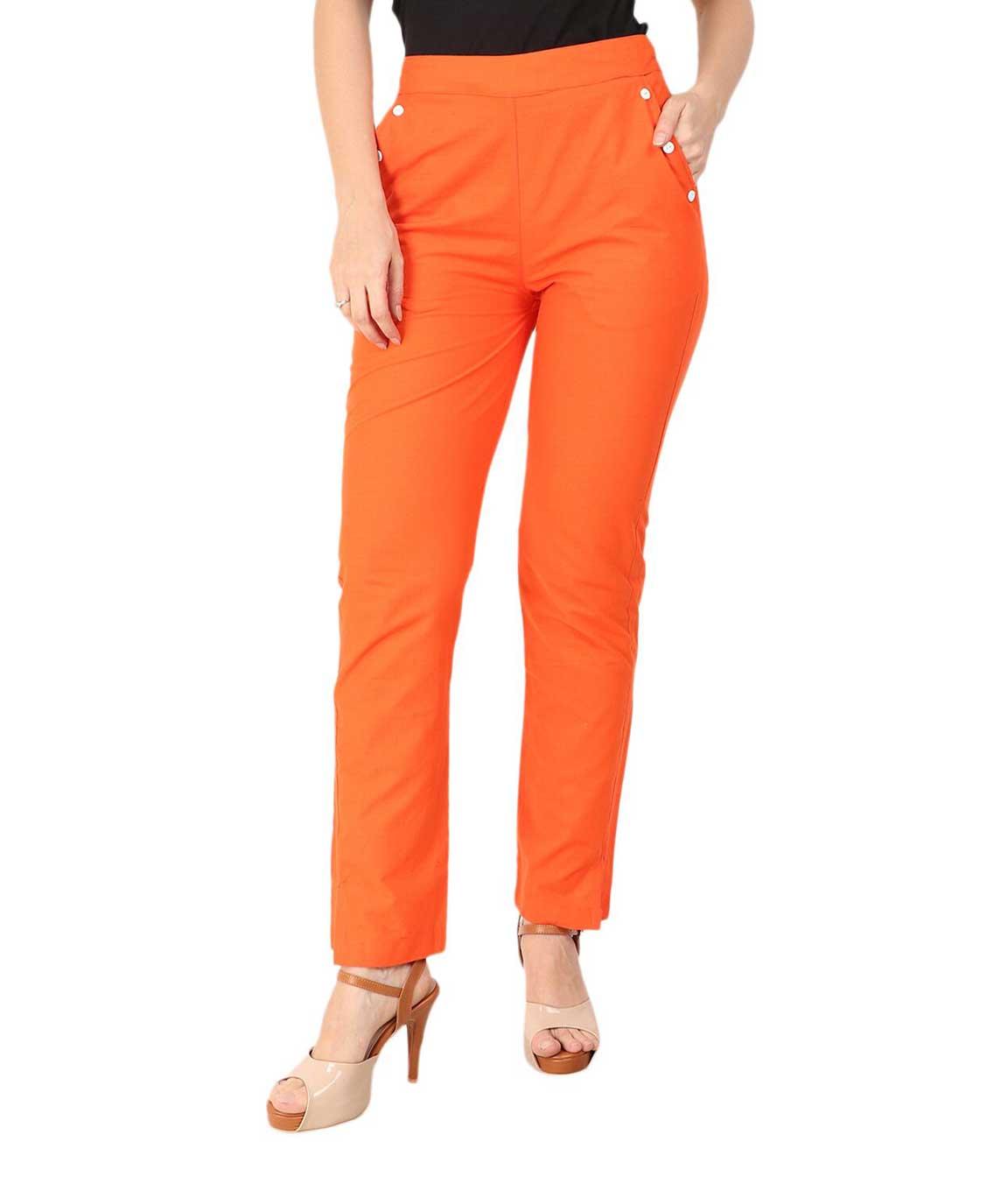 Makxziya Women`s Orange Regular Fit Cotton Trouser(Orange)