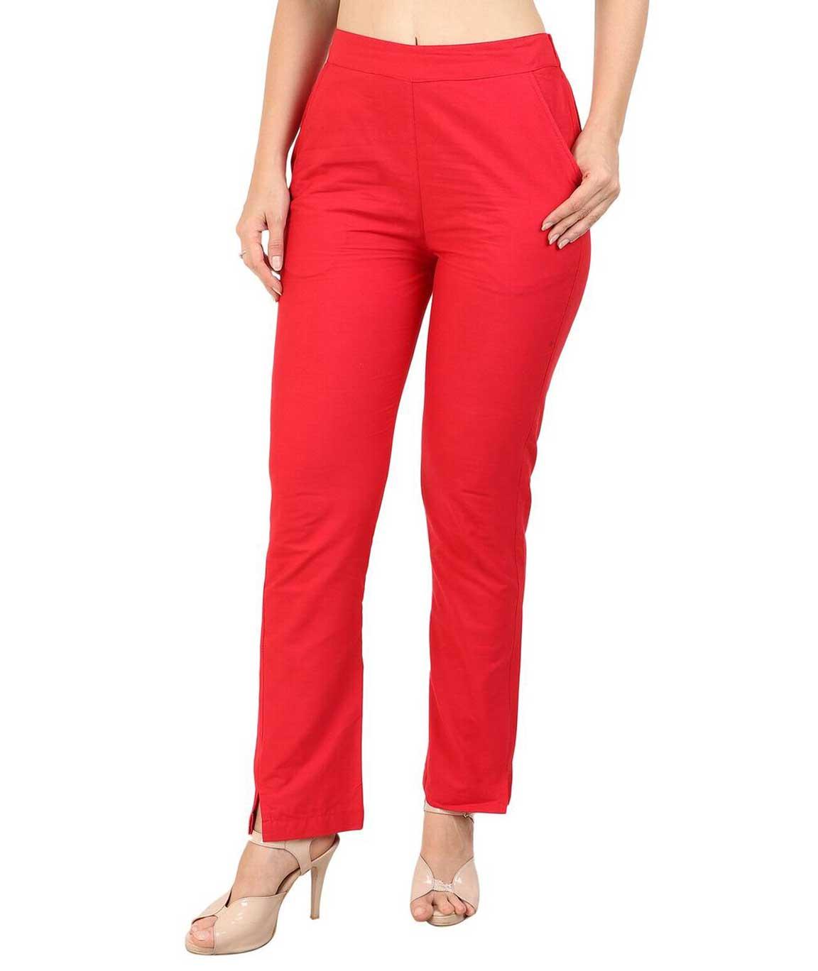 Makxziya Women`s Red Regular Fit Cotton Trouser(Red)