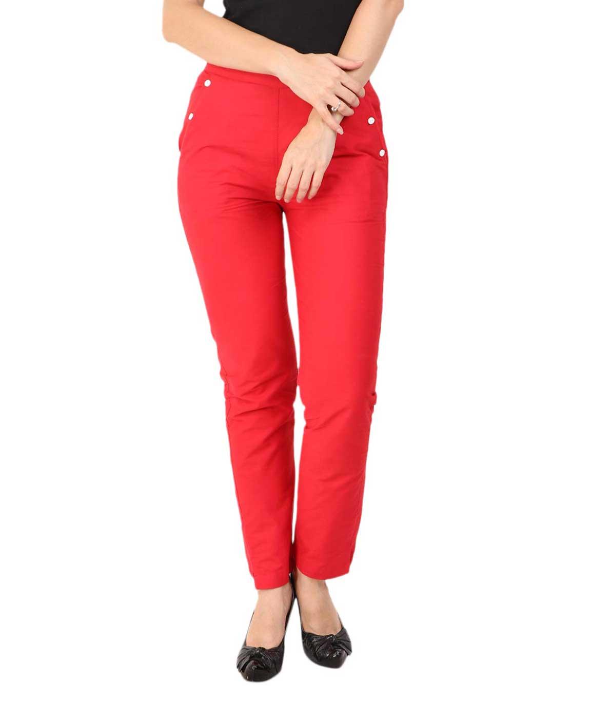 Makxziya Women`s Red Regular Fit Rayon Trouser