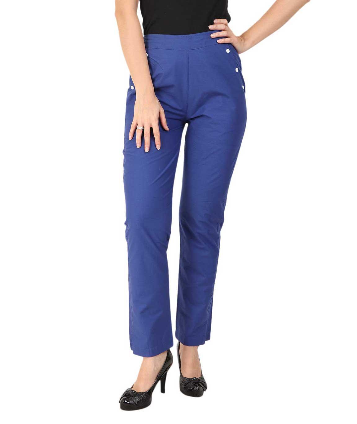 Makxziya Women`s  Regular Fit Cotton Trouser(Royal Blue)