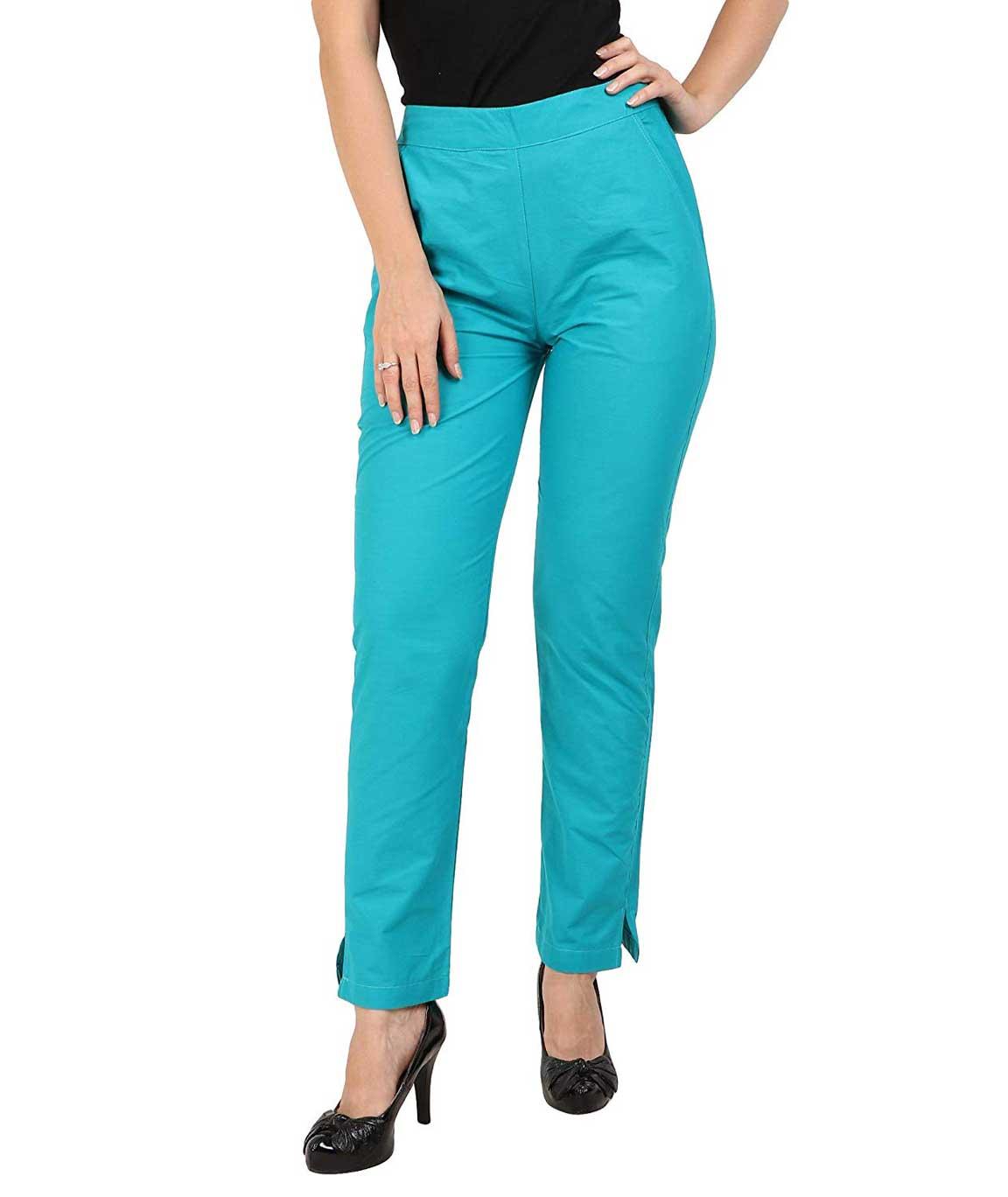 Makxziya Women`s Turquoise Regular Fit Cotton Trouser(Turquoise)