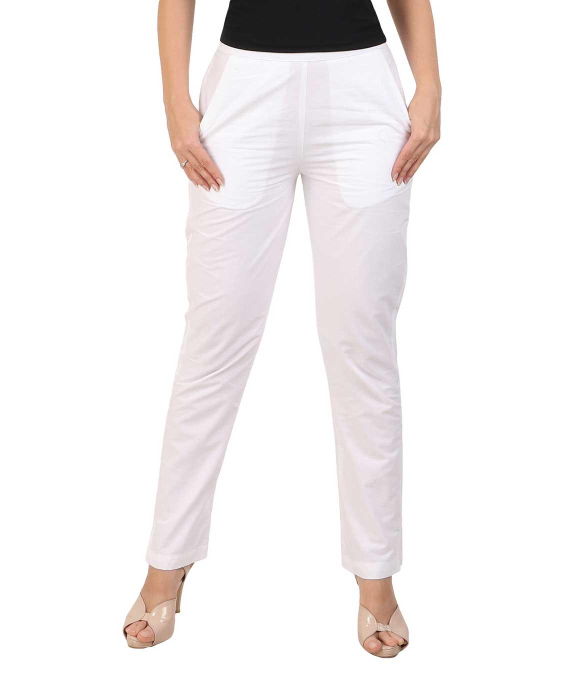 Makxziya Women`s White  Regular Fit Cotton Trouser(White)