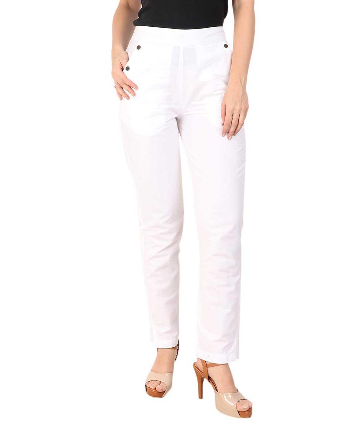 Makxziya Women`s White Regular Fit Rayon Trouser(White)