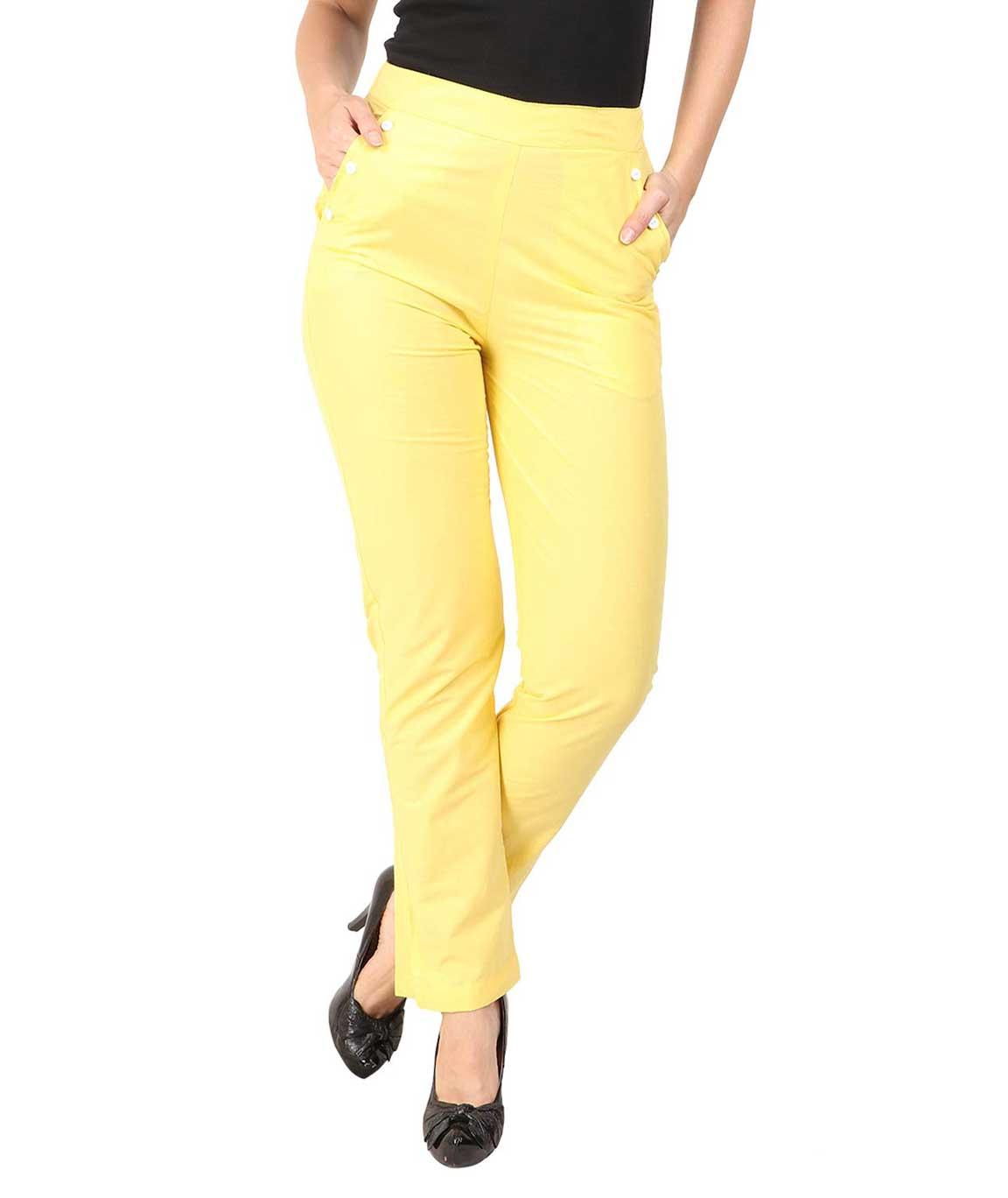 Makxziya Women`s Yellow Regular Fit Cotton Trouser(Yellow)