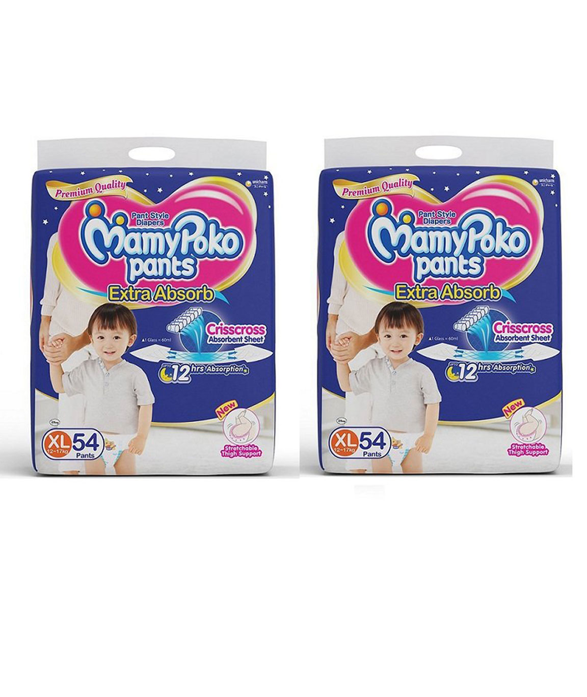 Mamy Poko Pants (White XL) -54 Diapers Each Pack of 2