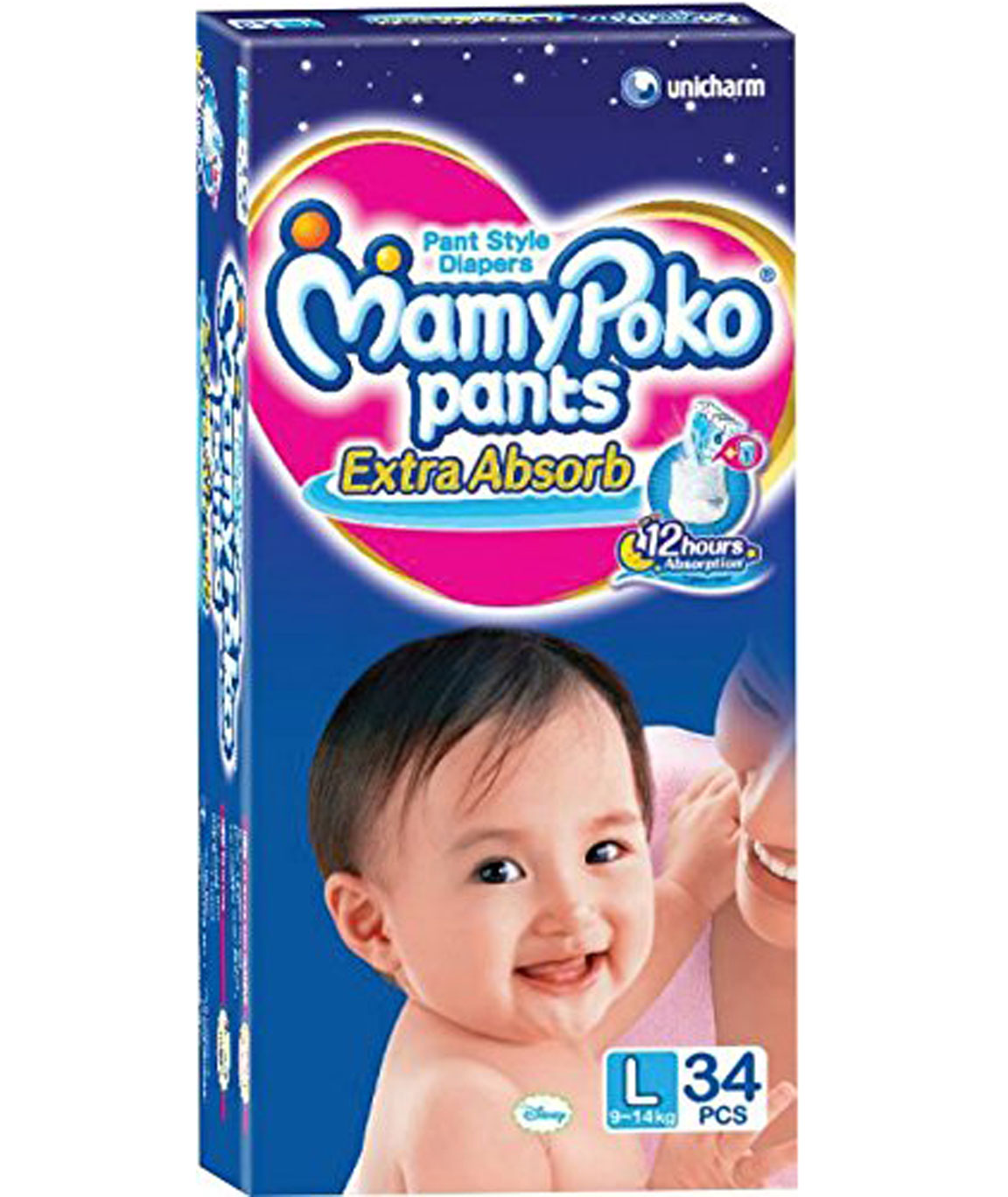 MamyPoko Pants (Blue, Large) - Pack of 34 Pieces