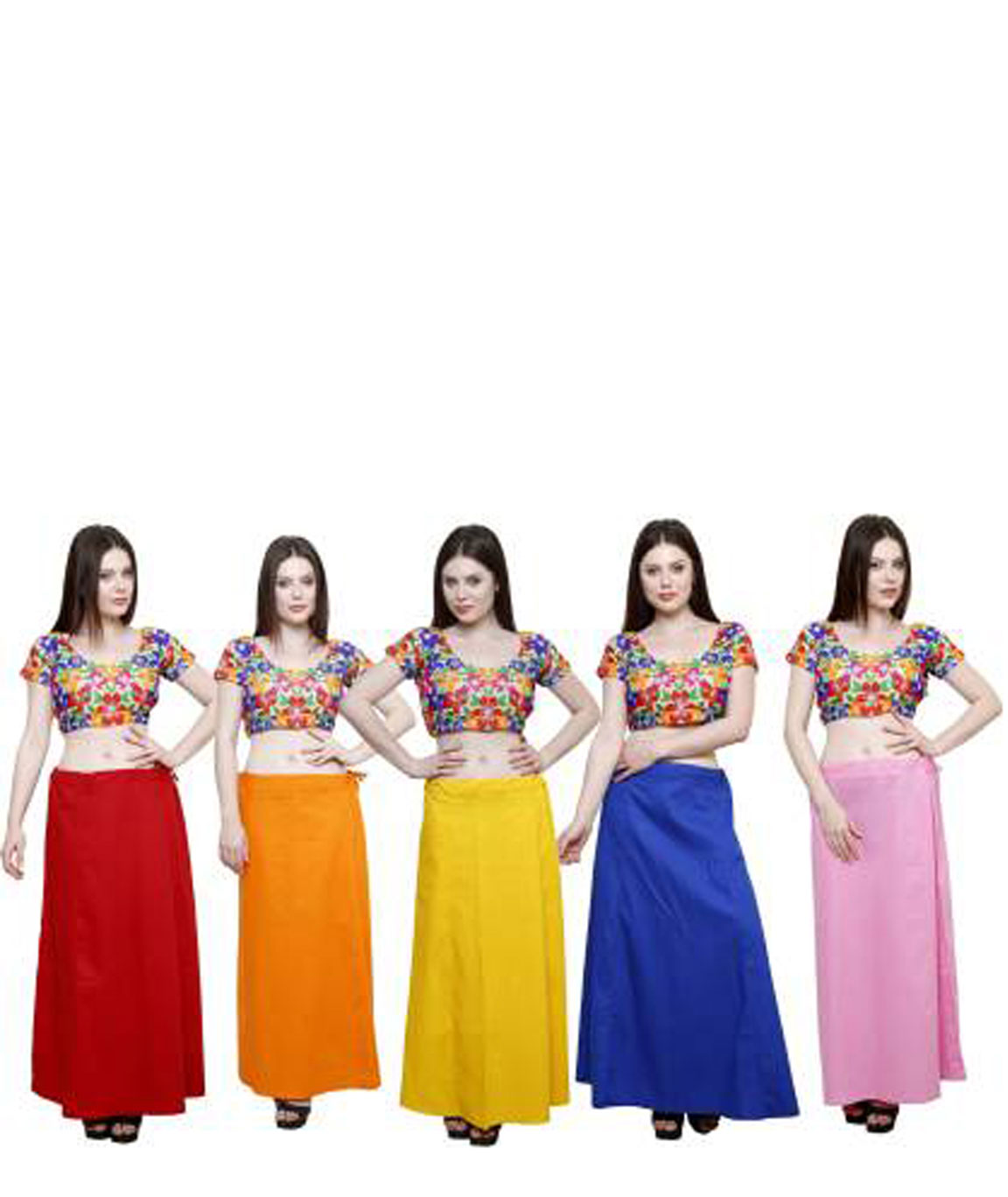 MAROON, ORANGE, YELLOW, INK BLUE AND PASTLE PINK COTTON BLEND PETTICOAT (XL)