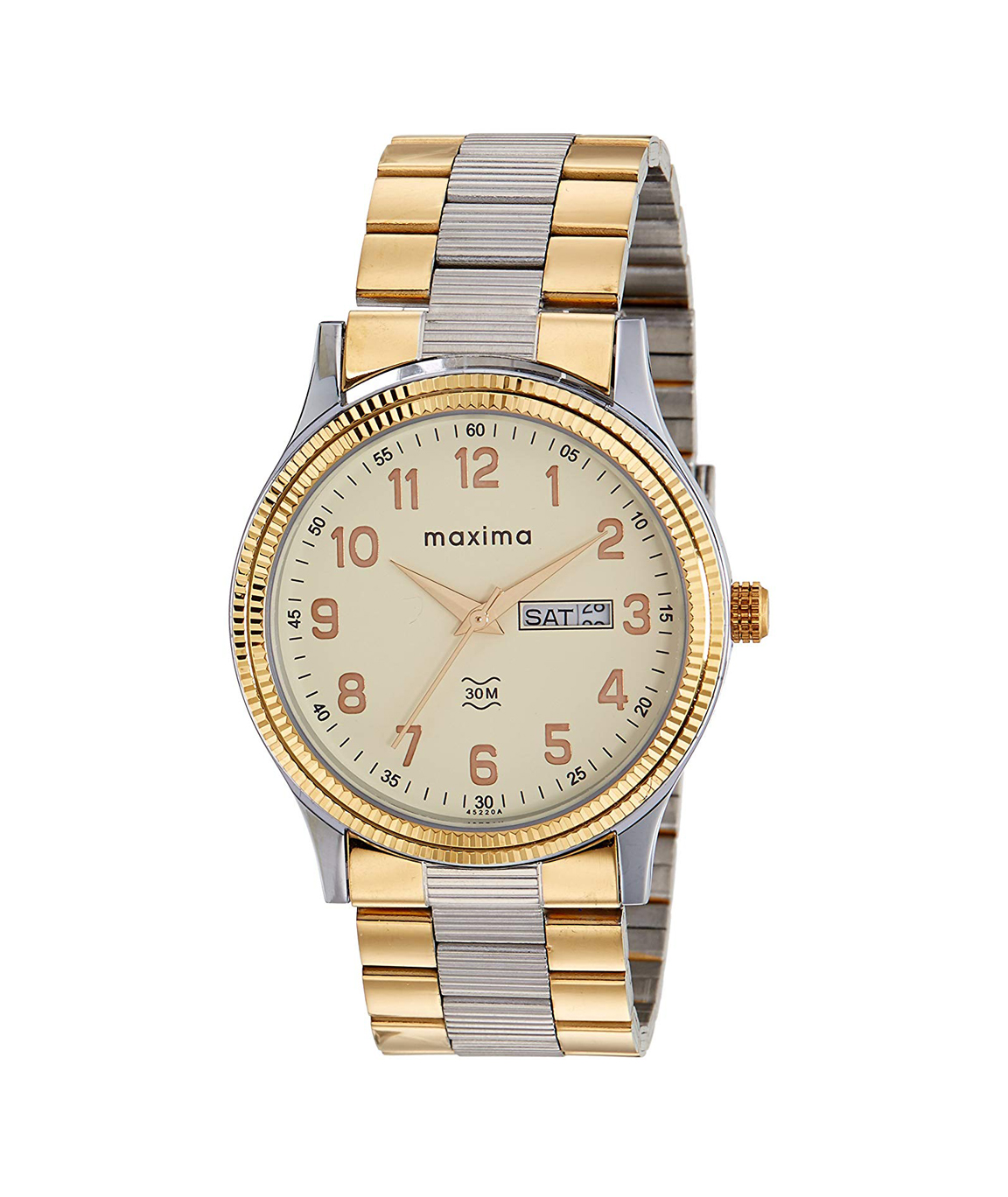 Maxima Analog Champagne Dial Men`s Watch - 45244CMGT