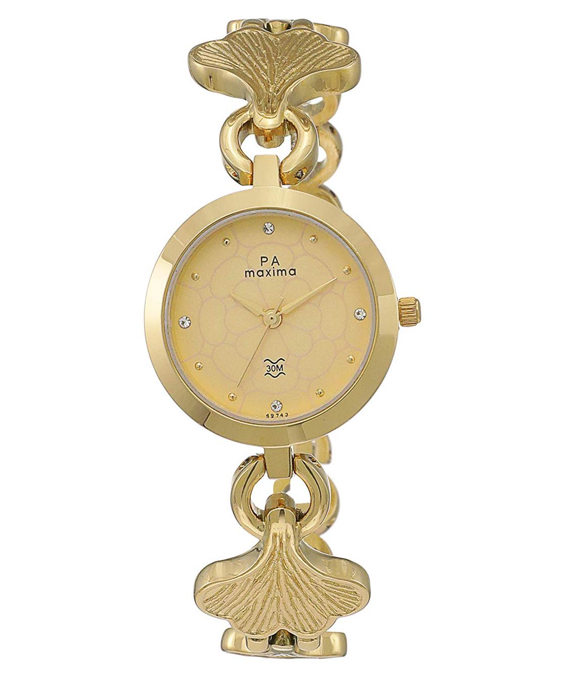 Maxima Analog Gold Dial Women`s Watch - 49743BMLY