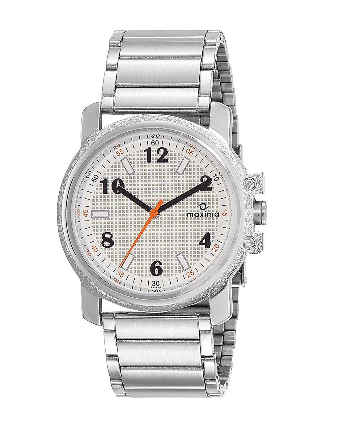 Maxima Analog Silver Dial Men`s Watch - 34861CMGI