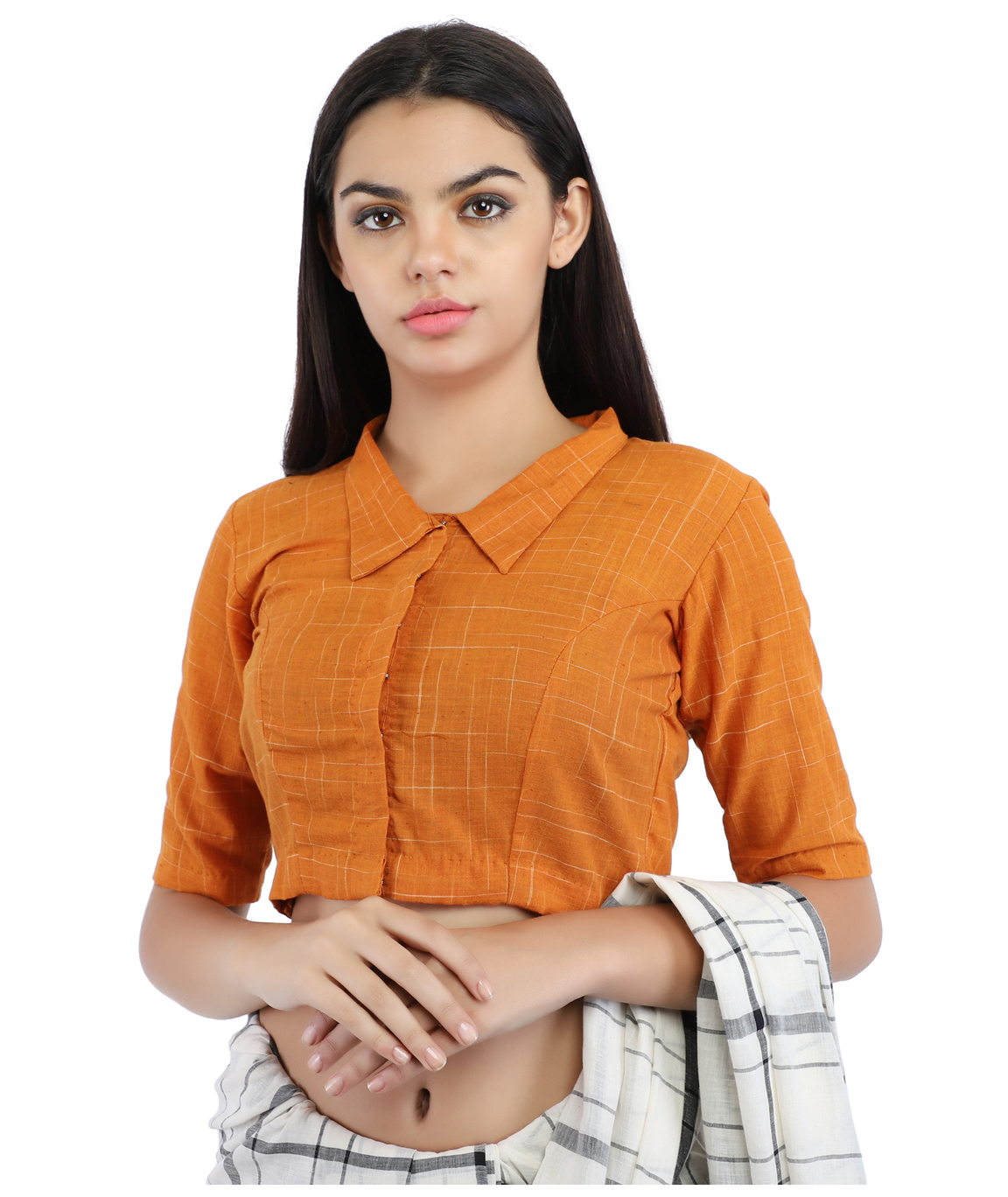 Mustard Yellow Pure Cotton Handloom Front-Open Blouse With Collared Neckline (COLOUR : MUSTARD YELLOW)