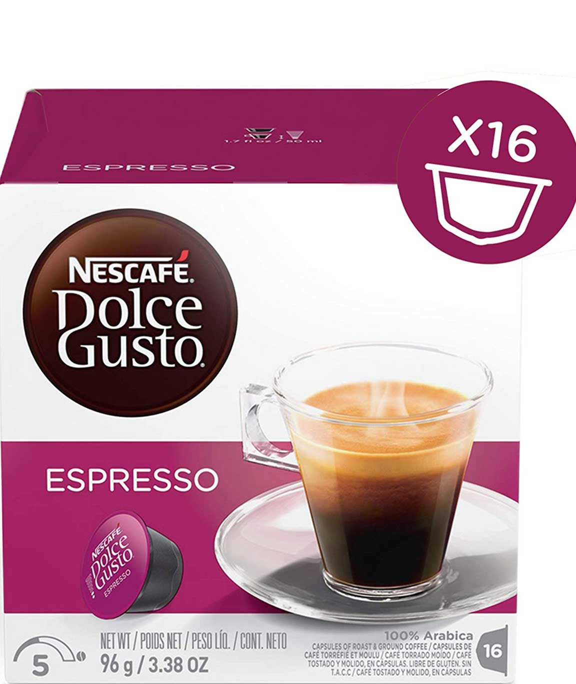 NESCAFE Dolce Gusto Espresso Coffee Pods, 16 Capsules (Pack of 3 - Total 48 Capsules, 48 Servings)