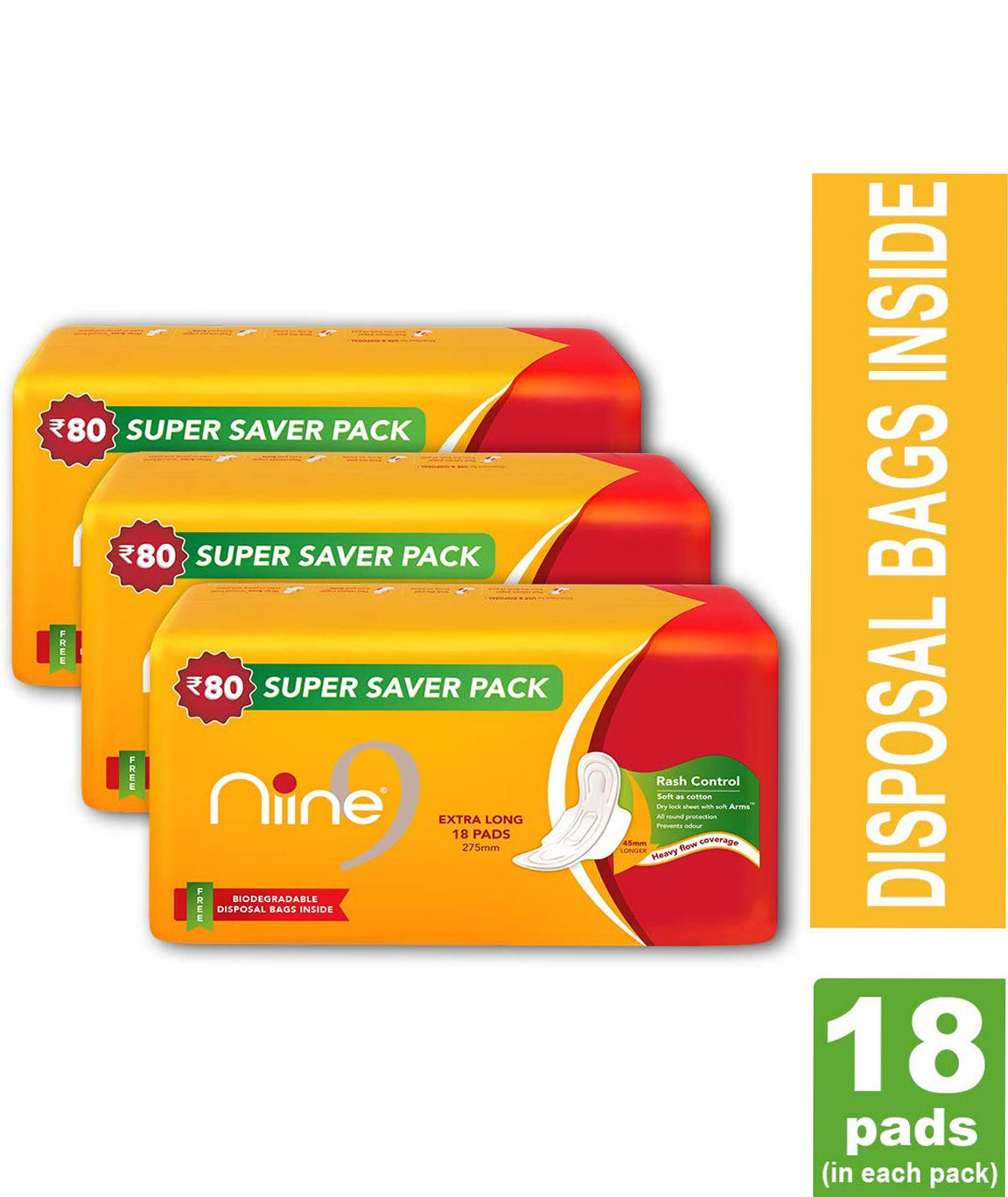 NINE Extra Long 18 Sanitary Pads With Disposable Bags for Women (Pack of 3)